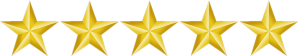 Five stars to indicate the 5-star review by Tumbling Wave Software client, PowerTools' Jackson Bond.
